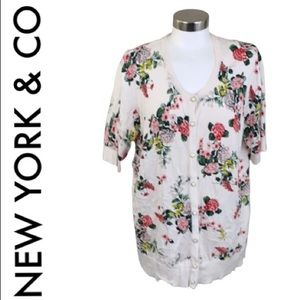 NEW YORK & CO WHITE FLORAL CARDIGAN SIZE XXL